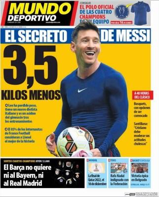 Portada Mundo Deportivo: el secreto de Messi adelgaza tres kilos