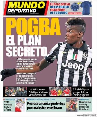 Portada Mundo Deportivo: Poga, el plan secreto