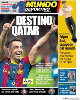 Portada Mundo Deportivo: Xavi destino Qatar