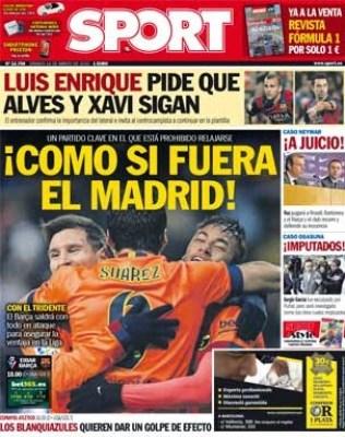 Portada Sport: como si fuera el Madrid