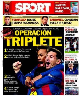 Portada Sport: Operación triplete