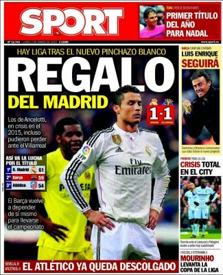 Portada Sport: Regalo del Madrid