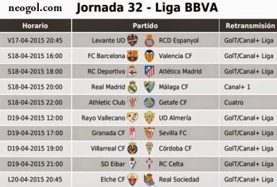 Partidos Jornada 32. Liga Española BBVA 2015
