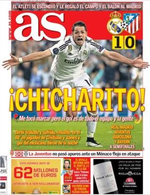 Portada AS: Chicharito, héroe de Champions real madrid atletico