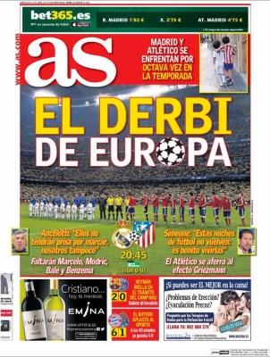 Portada AS: el derbi de Europa real madrid atlético