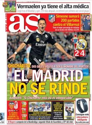 Portada AS: el Madrid no se rinde chicharito doblete