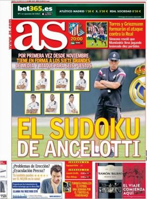 Portada AS: el Sudoku de Ancelotti