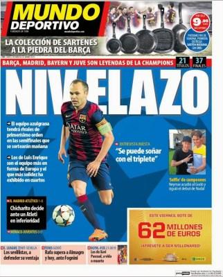 Portada Mundo Deportivo: Nivelazo de Iniesta