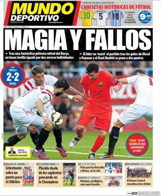 Portada Mundo Deportivo: Magia y fallos