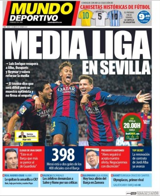 Portada Mundo Deportivo: hoy Sevilla vs. Barcelona se juega media liga