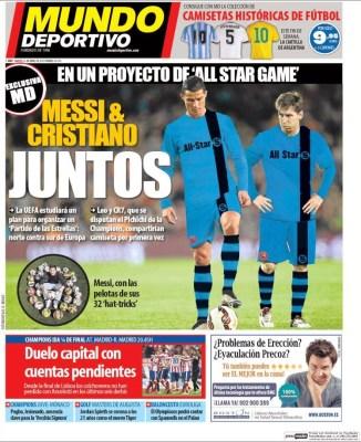 Portada Mundo Deportivo: Messi y Cristiano juntos partido de las estrellas