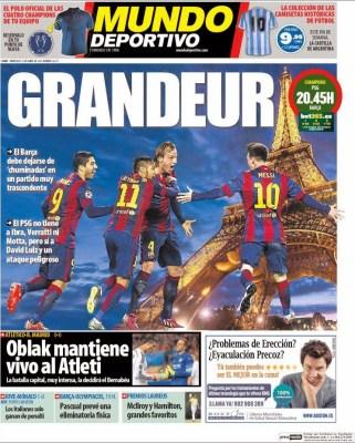 Portada Mundo Deportivo: PSG vs. Barça en cuartos de Champions