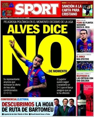 Portada Sport: Alves dice no...de momento renovacion barcelona