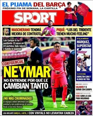 Portada Sport: Neymar y los cambios lucho