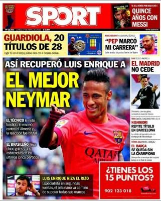Portada Sport: el mejor Neymar