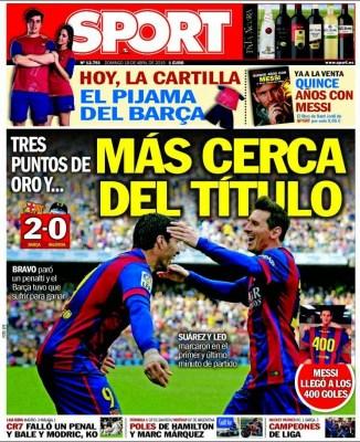 Portada Sport: más cerca del título barcelona gana valencia
