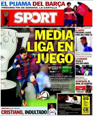 Portada Sport: Media liga en juego