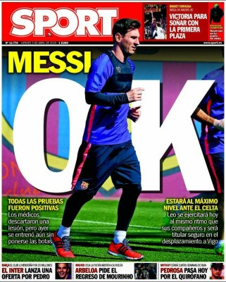 Portada Sport: Messi OK