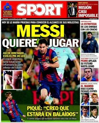 Portada Sport: Messi quiere jugar