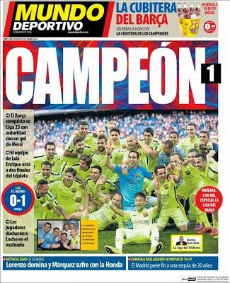 Portada Mundo Deportivo: Barcelona Campeón 2014/2015 liga bbva