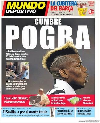 Portada Mundo Deportivo: cumbre por Pogba