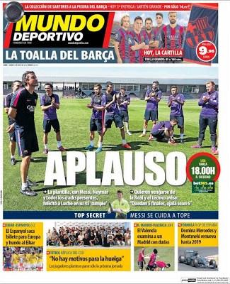Portada Mundo Deportivo: aplauso a luis enrique