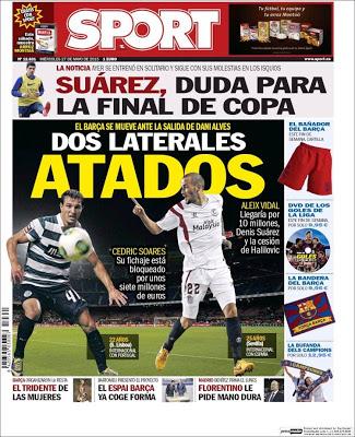Portada Sport: Suárez, duda para la copa