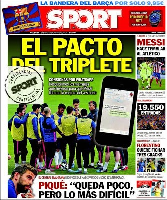 Portada Sport: el pacto del triplete