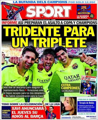 Portada Sport: tridente para un triplete