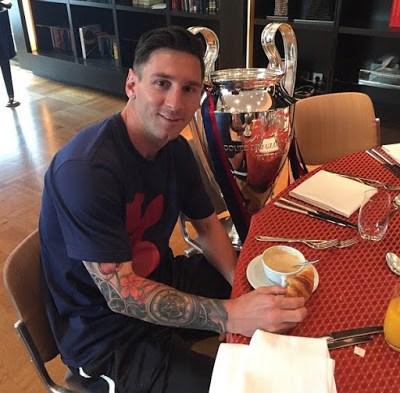 messi instagram café champions league 2015