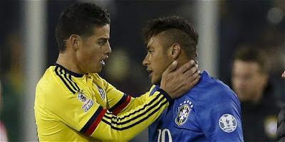Brasil 0-Colombia 1. Copa América 2015 Grupo C James y Neymar