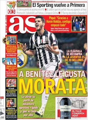 Portada AS: Benítez quiere a Morata
