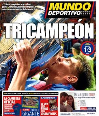 Portada Mundo Deportivo: Barça tricampeón champions league messi