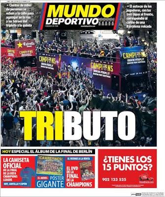 Portada Mundo Deportivo: Tributo la rua barcelona 2015