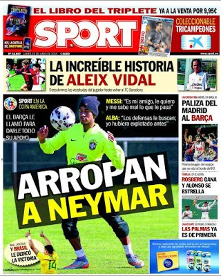 Portada Sport: arropan a Neymar
