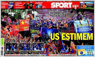 Portada Sport: Us Estimem barcelona rua