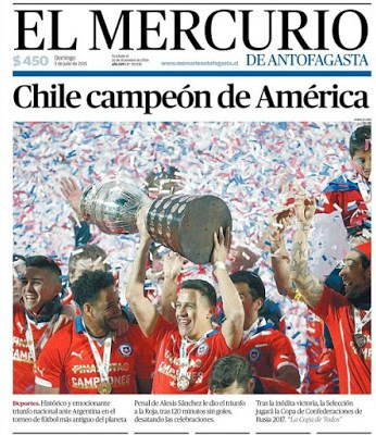 Portada El Mercurio: Chile campeón de América