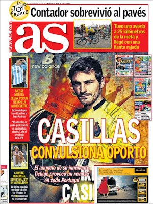Portada As: Casillas convulsiona Oporto