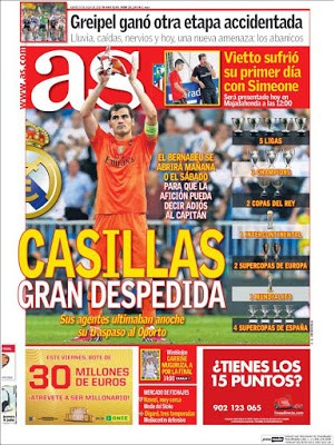 Portada AS: Iker Casillas ficha por el Oporto