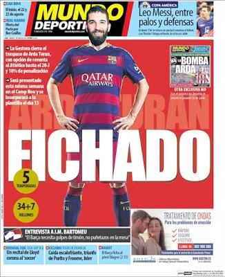 Portada Mundo Deportivo: El Barcelona ficha a Arda Turan