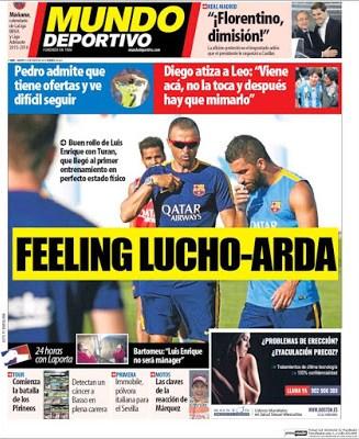 Portada Mundo Deportivo: Feeling lucho arda