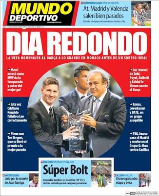 Portada Mundo Deportivo: Día redondo sorteo champions