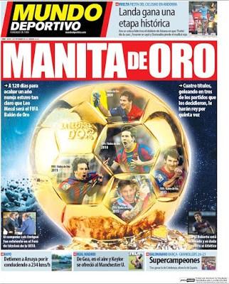 Portada Mundo Deportivo: Manita de Oro