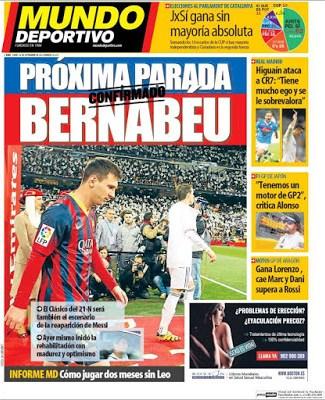 Portada Mundo Deportivo: Leo estará en el Bernabé