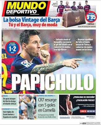 Portada Mundo Deportivo: Messi papichulo