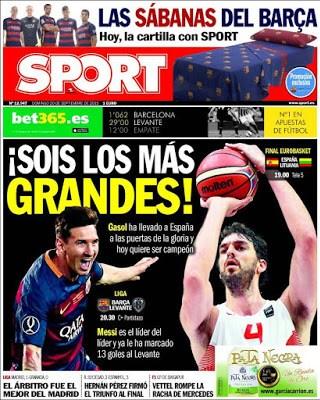 Portada Sport: Gasol y Messi los más grandes