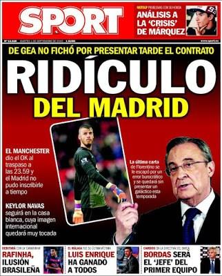 Portada Sport: ridículo del Madrid