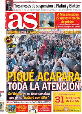 Portada AS: Gerard Piqué y la roja