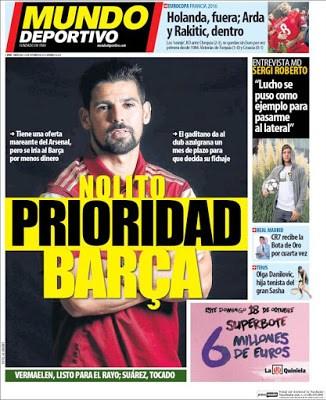 Portada Mundo Deportivo: Nolito, prioridad Barça