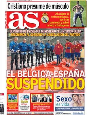 Portada AS: Bélgica-España suspendido